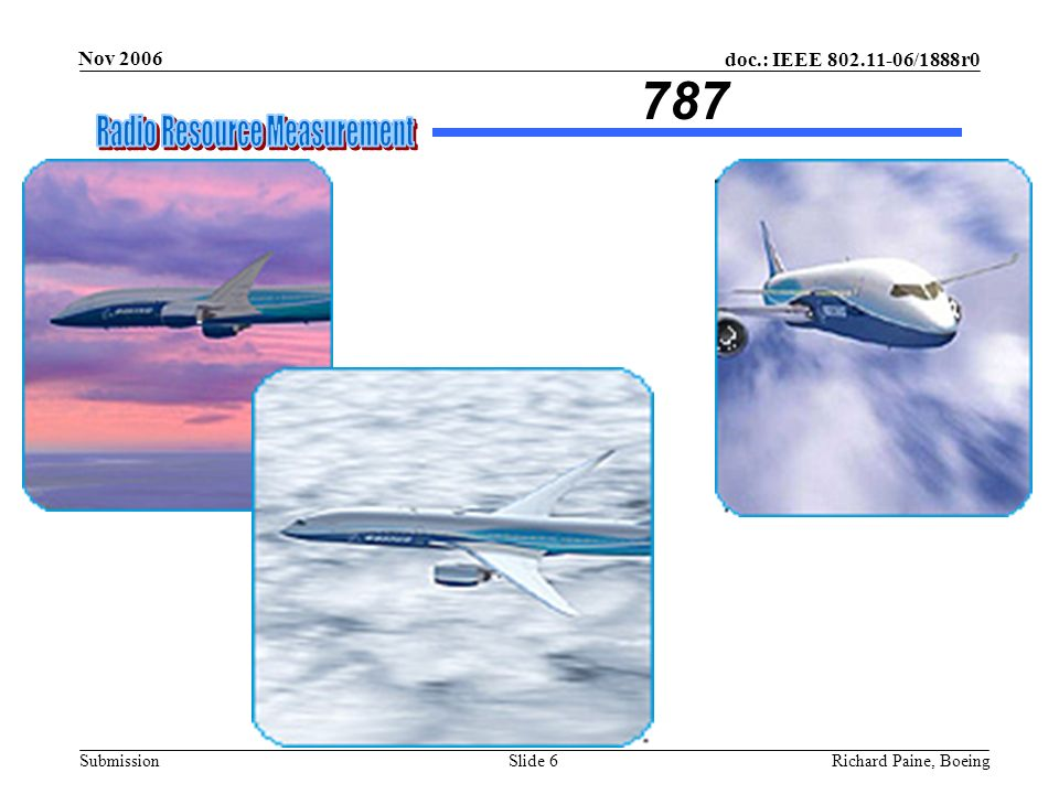 doc.: IEEE 802.11-06/1888r0 Submission Nov 2006 Richard Paine, BoeingSlide 6 787