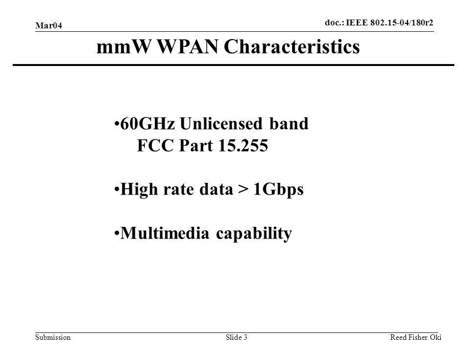 doc.: IEEE 802.15-04/180r2 Submission Mar04 Reed Fisher OkiSlide 3 mmW WPAN Characteristics 60GHz Unlicensed band FCC Part 15.255 High rate data > 1Gb