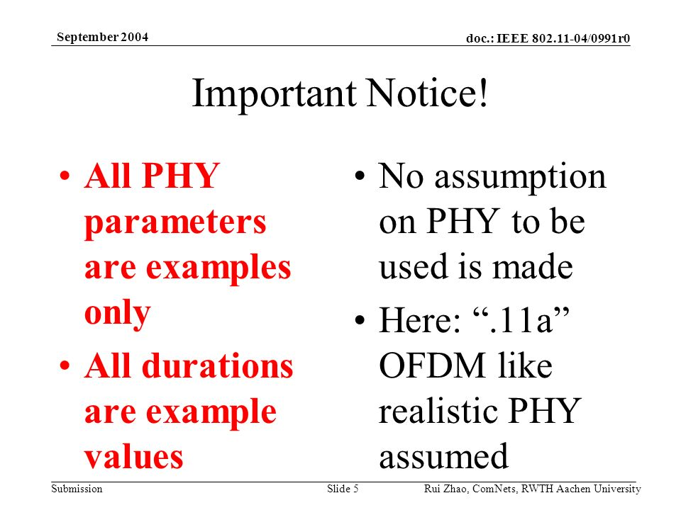doc.: IEEE /0991r0 Submission September 2004 Rui Zhao, ComNets, RWTH Aachen UniversitySlide 5 Important Notice.