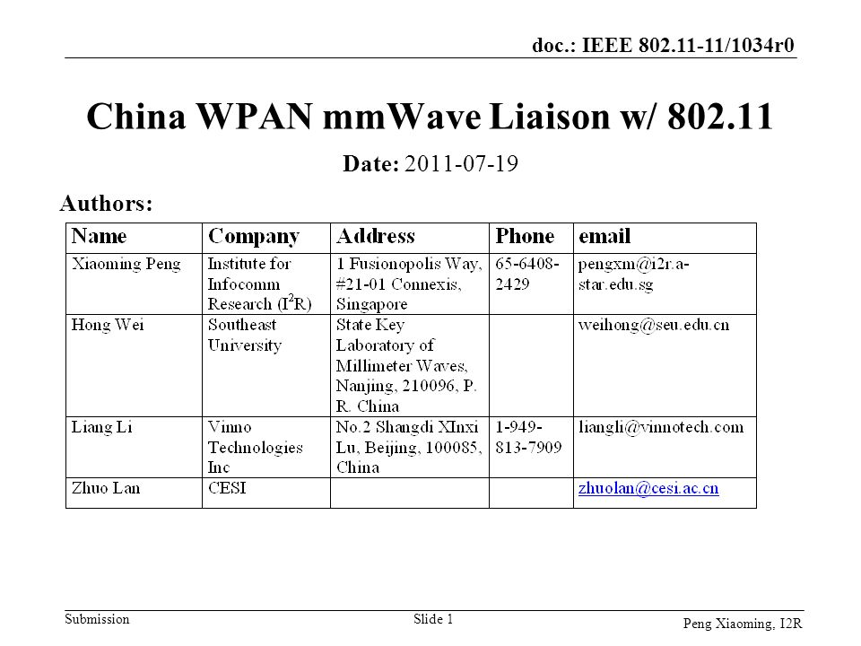 doc.: IEEE 802.11-11/1034r0 Submission Peng Xiaoming, I2R China WPAN mmWave Liaison w/ 802.11 Date: 2011-07-19 Authors: Slide 1