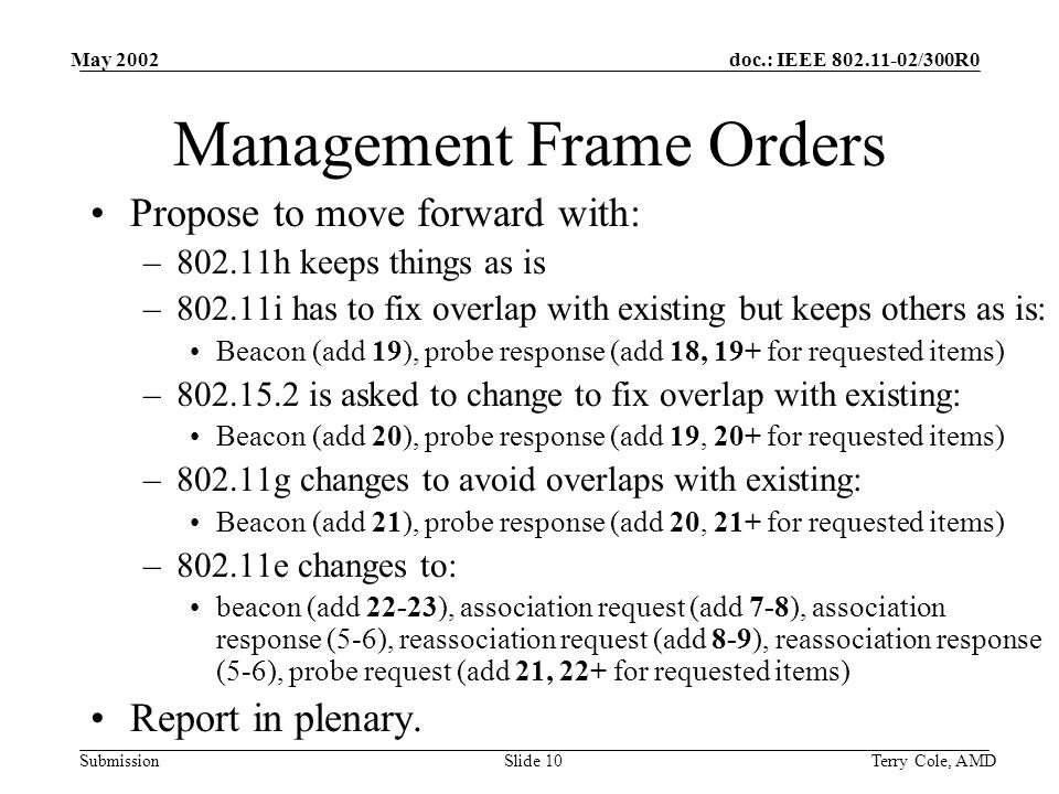 doc.: IEEE /300R0 Submission May 2002 Terry Cole, AMDSlide 10 Management Frame Orders Propose to move forward with: –802.11h keeps things as is –802.11i has to fix overlap with existing but keeps others as is: Beacon (add 19), probe response (add 18, 19+ for requested items) – is asked to change to fix overlap with existing: Beacon (add 20), probe response (add 19, 20+ for requested items) –802.11g changes to avoid overlaps with existing: Beacon (add 21), probe response (add 20, 21+ for requested items) –802.11e changes to: beacon (add 22-23), association request (add 7-8), association response (5-6), reassociation request (add 8-9), reassociation response (5-6), probe request (add 21, 22+ for requested items) Report in plenary.