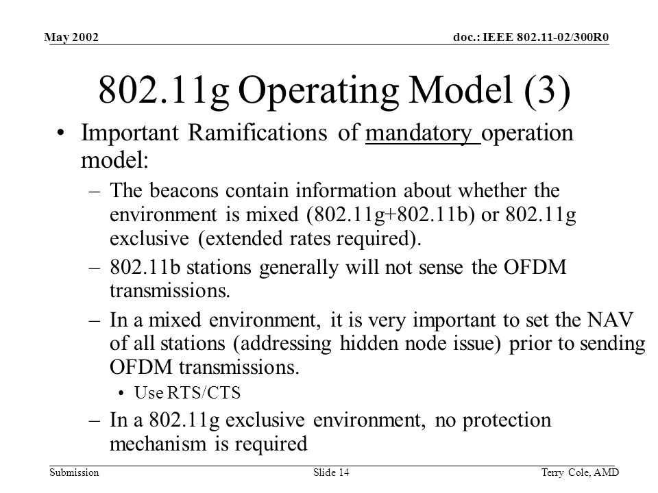 doc.: IEEE /300R0 Submission May 2002 Terry Cole, AMDSlide g Operating Model (3) Important Ramifications of mandatory operation model: –The beacons contain information about whether the environment is mixed (802.11g b) or g exclusive (extended rates required).