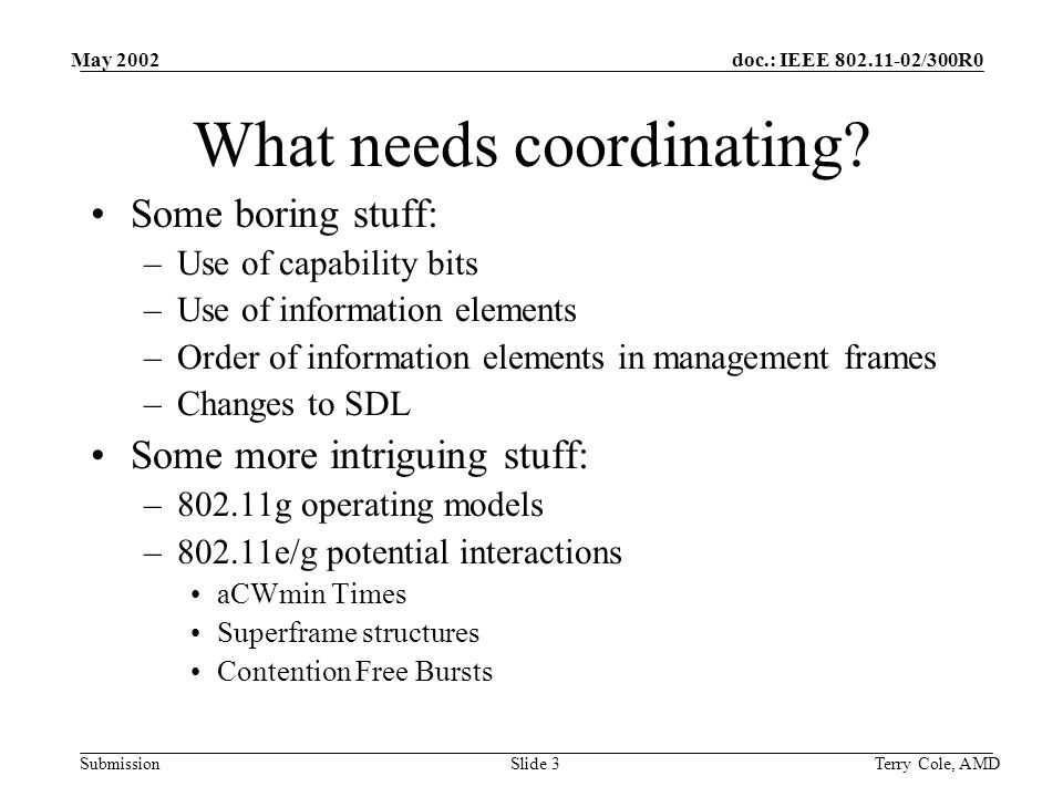 doc.: IEEE /300R0 Submission May 2002 Terry Cole, AMDSlide 3 What needs coordinating.