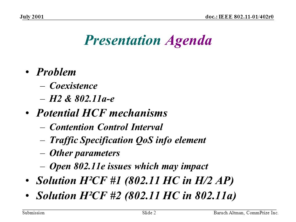 doc.: IEEE 802.11-01/402r0 Submission July 2001 Baruch Altman, CommPrize Inc.Slide 2 Presentation Agenda Problem –Coexistence –H2 & 802.11a-e Potentia