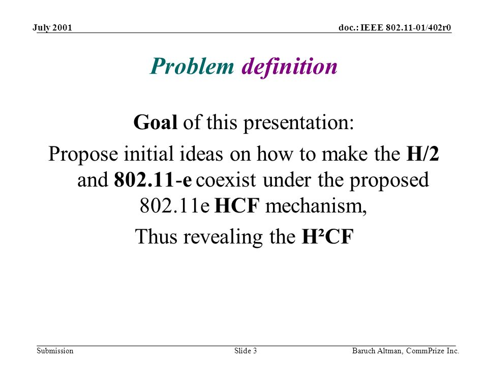 doc.: IEEE 802.11-01/402r0 Submission July 2001 Baruch Altman, CommPrize Inc.Slide 3 Problem definition Goal of this presentation: Propose initial ide
