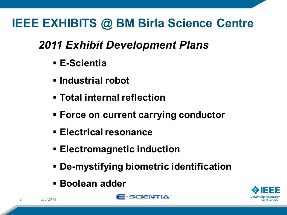 IEEE BM Birla Science Centre 2/8/ Exhibit Development Plans E-Scientia Industrial robot Total internal reflection Force on current carrying conductor Electrical resonance Electromagnetic induction De-mystifying biometric identification Boolean adder