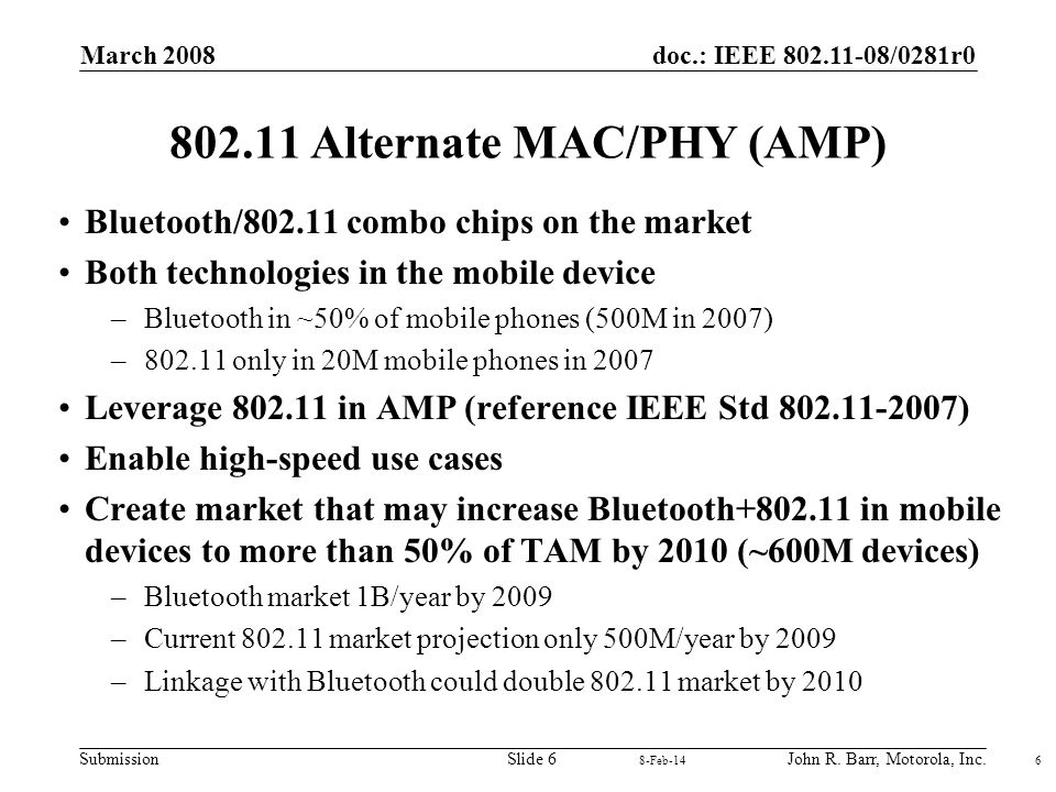 doc.: IEEE 802.11-08/0281r0 Submission March 2008 John R. Barr, Motorola, Inc.Slide 6 802.11 Alternate MAC/PHY (AMP) Bluetooth/802.11 combo chips on t