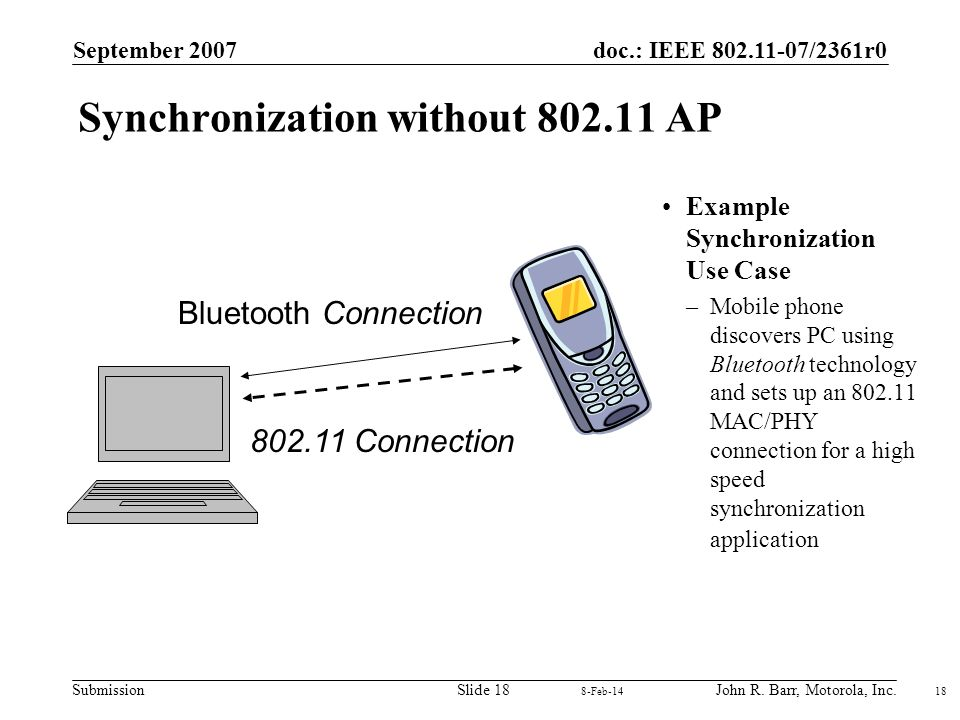 doc.: IEEE 802.11-07/2361r0 Submission September 2007 John R. Barr, Motorola, Inc.Slide 18 18 8-Feb-14 Synchronization without 802.11 AP Example Synch