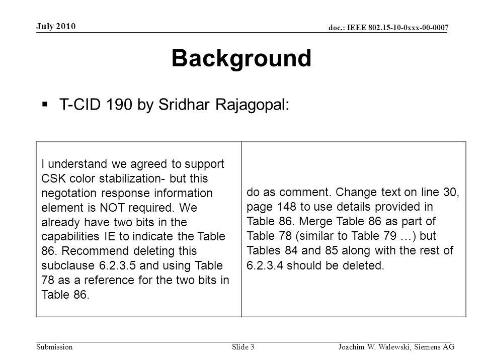 doc.: IEEE 802.15-10-0xxx-00-0007 Submission July 2010 Joachim W. Walewski, Siemens AGSlide 3 Background T-CID 190 by Sridhar Rajagopal: I understand