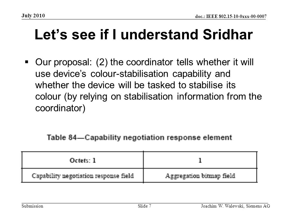 doc.: IEEE 802.15-10-0xxx-00-0007 Submission July 2010 Joachim W. Walewski, Siemens AGSlide 7 Lets see if I understand Sridhar Our proposal: (2) the c