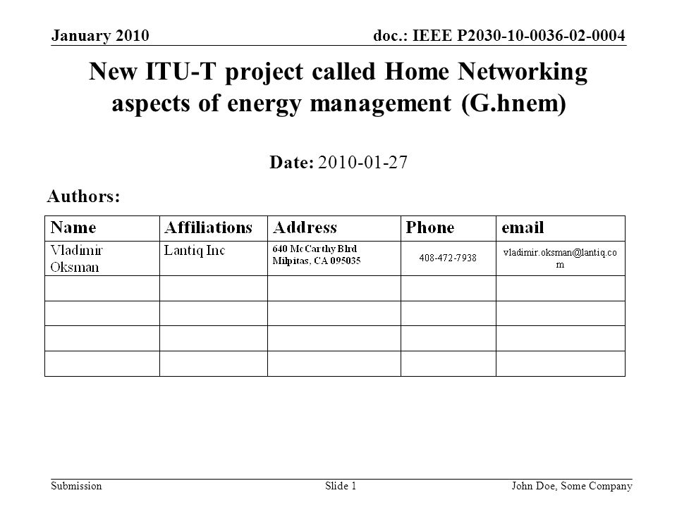 doc.: IEEE P2030-10-0036-02-0004 Submission January 2010 John Doe, Some CompanySlide 1 New ITU-T project called Home Networking aspects of energy management (G.hnem) Date: 2010-01-27 Authors: