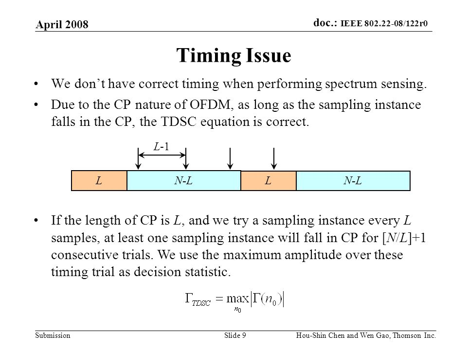 doc.: IEEE 802.22-08/122r0 Submission April 2008 Hou-Shin Chen and Wen Gao, Thomson Inc.Slide 9 Timing Issue We dont have correct timing when performi