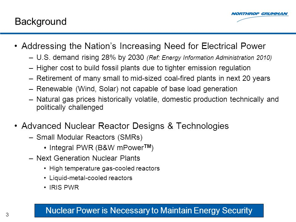 Background Addressing the Nations Increasing Need for Electrical Power –U.S.