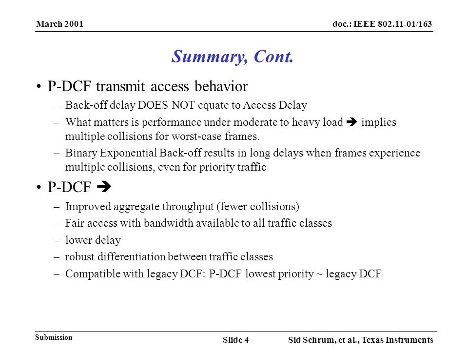 March 2001 Sid Schrum, et al., Texas InstrumentsSlide 4 doc.: IEEE /163 Submission Summary, Cont.