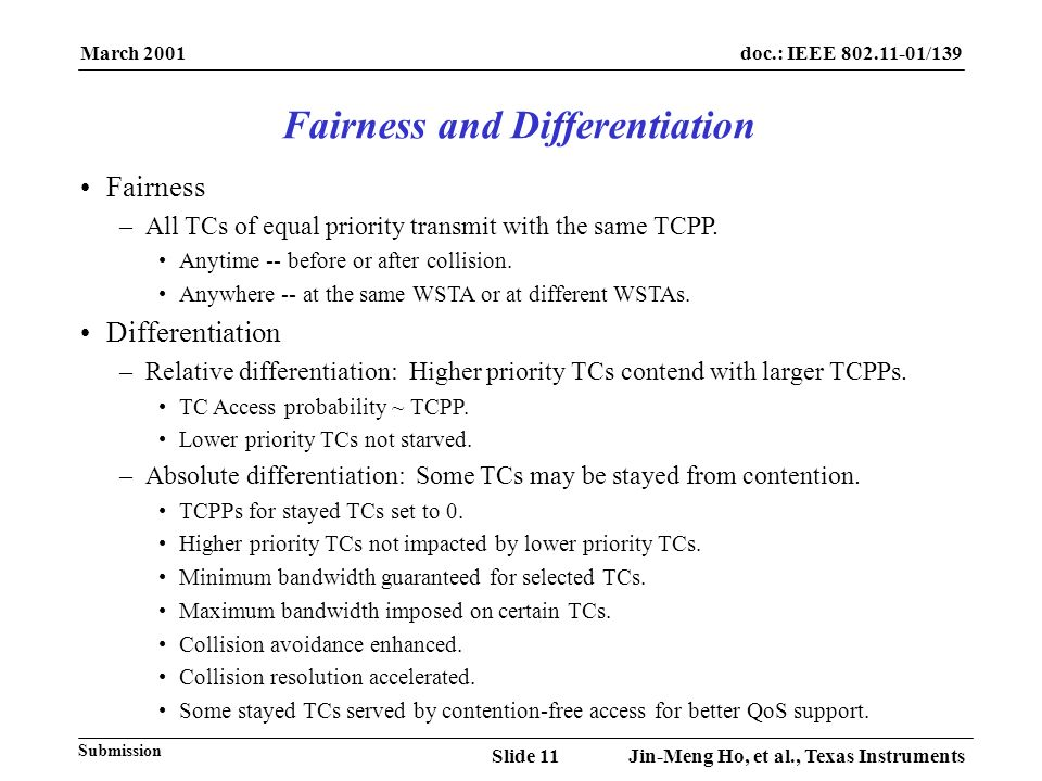 March 2001 Jin-Meng Ho, et al., Texas InstrumentsSlide 11 doc.: IEEE 802.11-01/139 Submission Fairness –All TCs of equal priority transmit with the same TCPP.