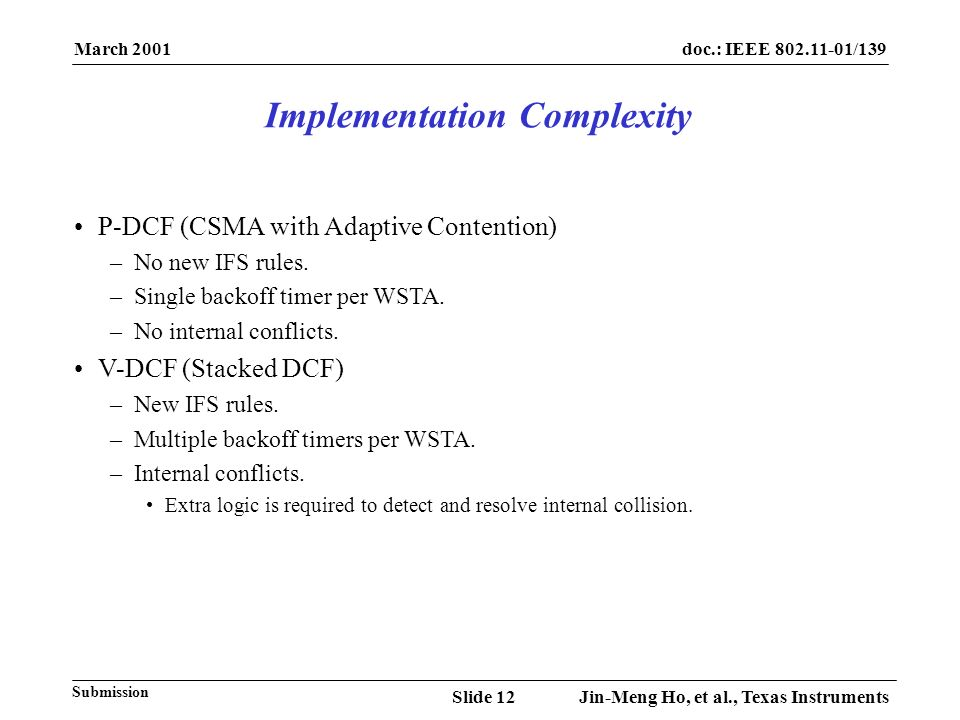 March 2001 Jin-Meng Ho, et al., Texas InstrumentsSlide 12 doc.: IEEE 802.11-01/139 Submission P-DCF (CSMA with Adaptive Contention) –No new IFS rules.