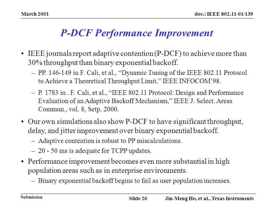March 2001 Jin-Meng Ho, et al., Texas InstrumentsSlide 20 doc.: IEEE 802.11-01/139 Submission IEEE journals report adaptive contention (P-DCF) to achi