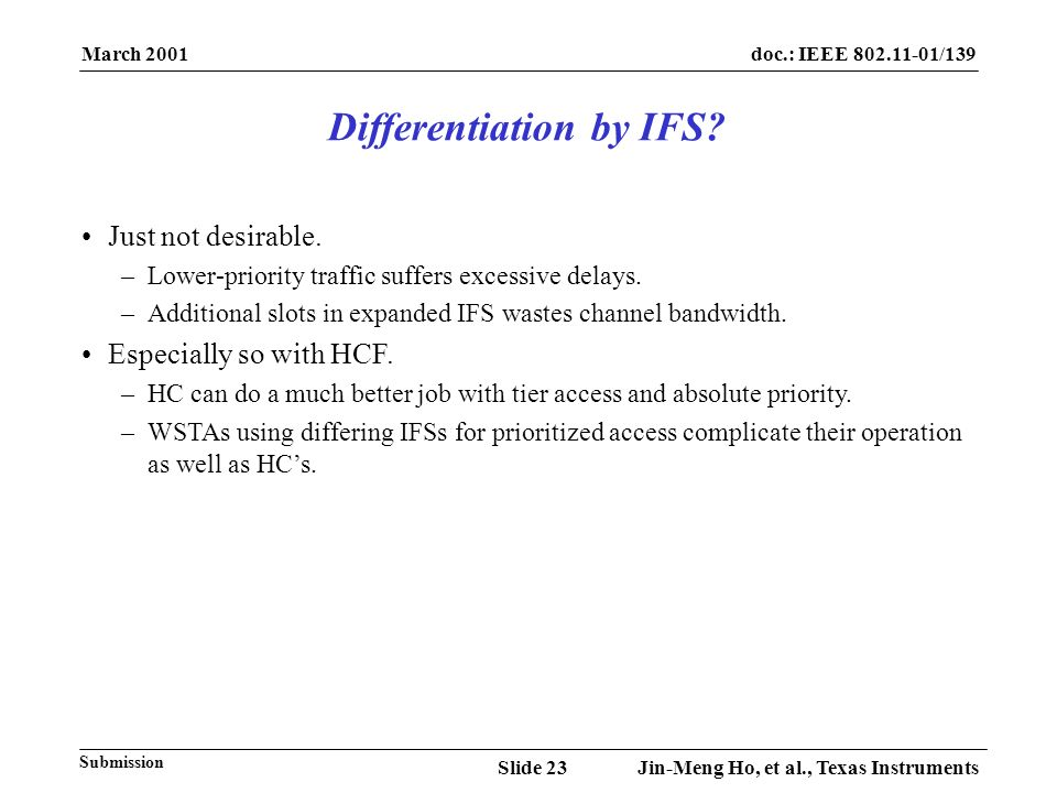 March 2001 Jin-Meng Ho, et al., Texas InstrumentsSlide 23 doc.: IEEE 802.11-01/139 Submission Just not desirable.