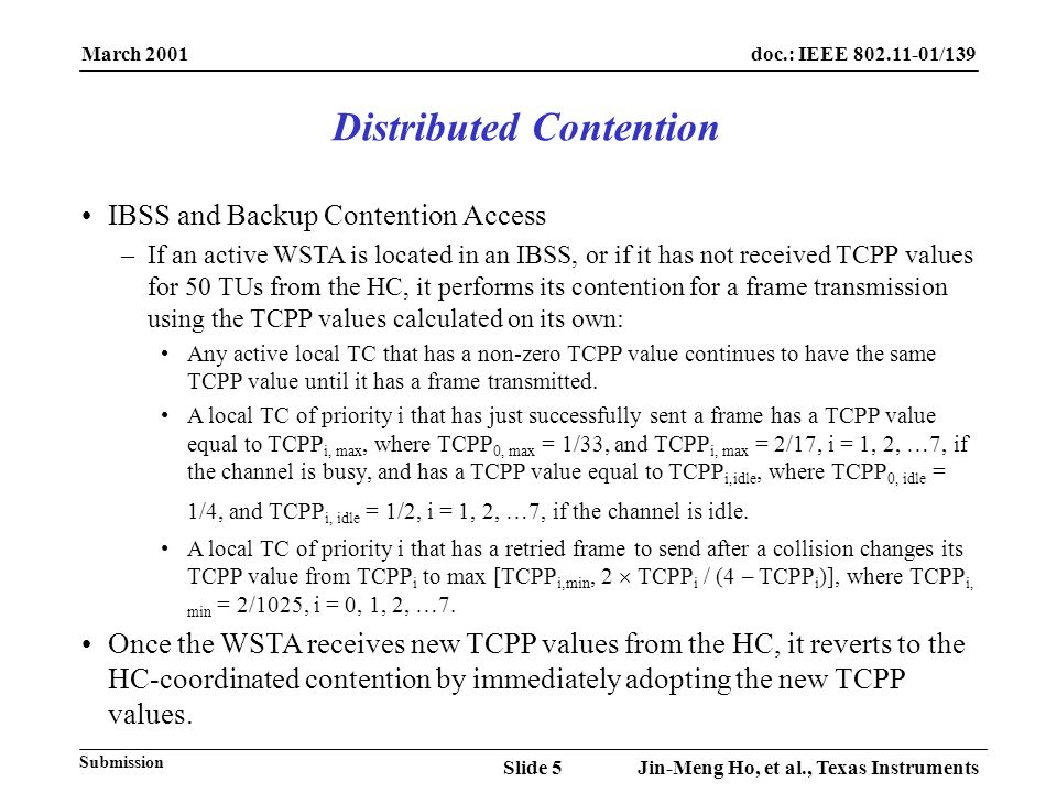 March 2001 Jin-Meng Ho, et al., Texas InstrumentsSlide 5 doc.: IEEE 802.11-01/139 Submission IBSS and Backup Contention Access –If an active WSTA is l