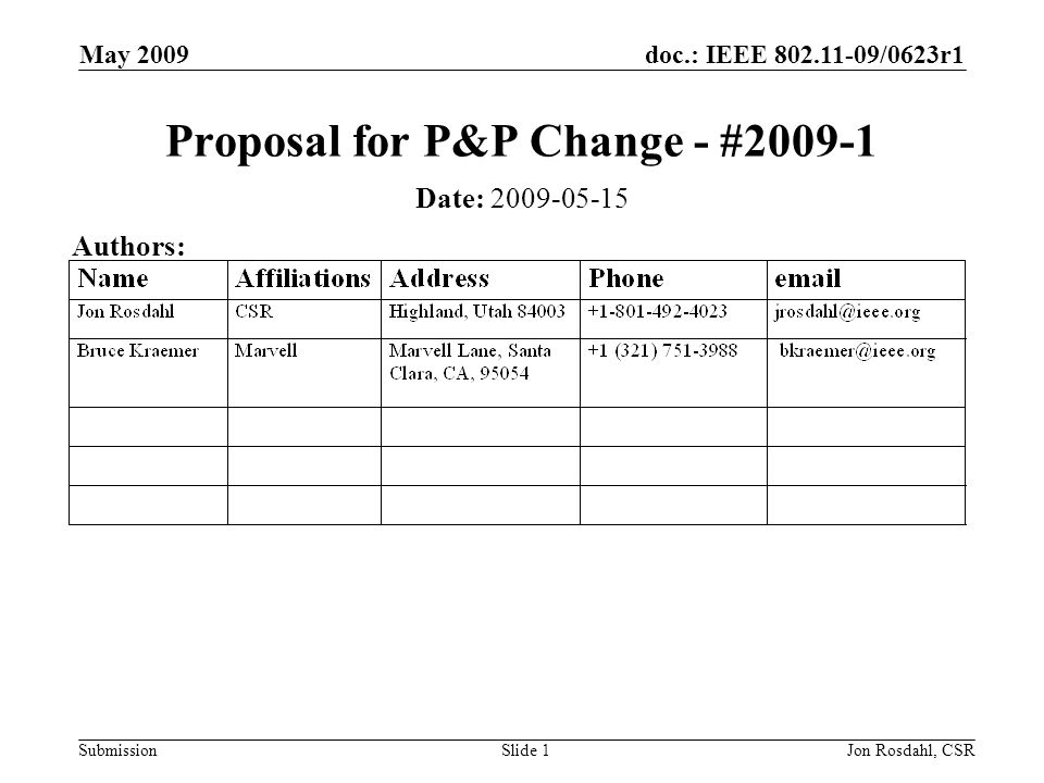 doc.: IEEE /0623r1 Submission May 2009 Jon Rosdahl, CSRSlide 1 Proposal for P&P Change - # Date: Authors: