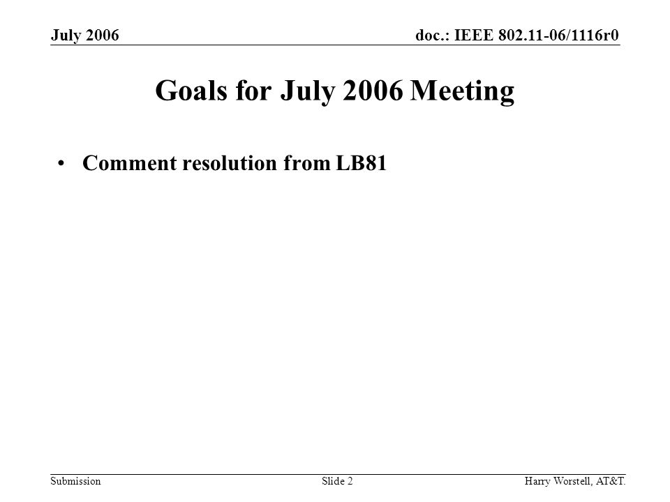 doc.: IEEE 802.11-06/1116r0 Submission July 2006 Harry Worstell, AT&T.Slide 2 Goals for July 2006 Meeting Comment resolution from LB81
