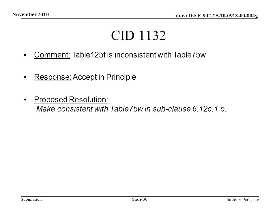 doc.: IEEE 802.15-10-0913-00-004g Submission November 2010 TaeJoon Park, etc. Slide 30 CID 1132 Comment: Table125f is inconsistent with Table75w Respo