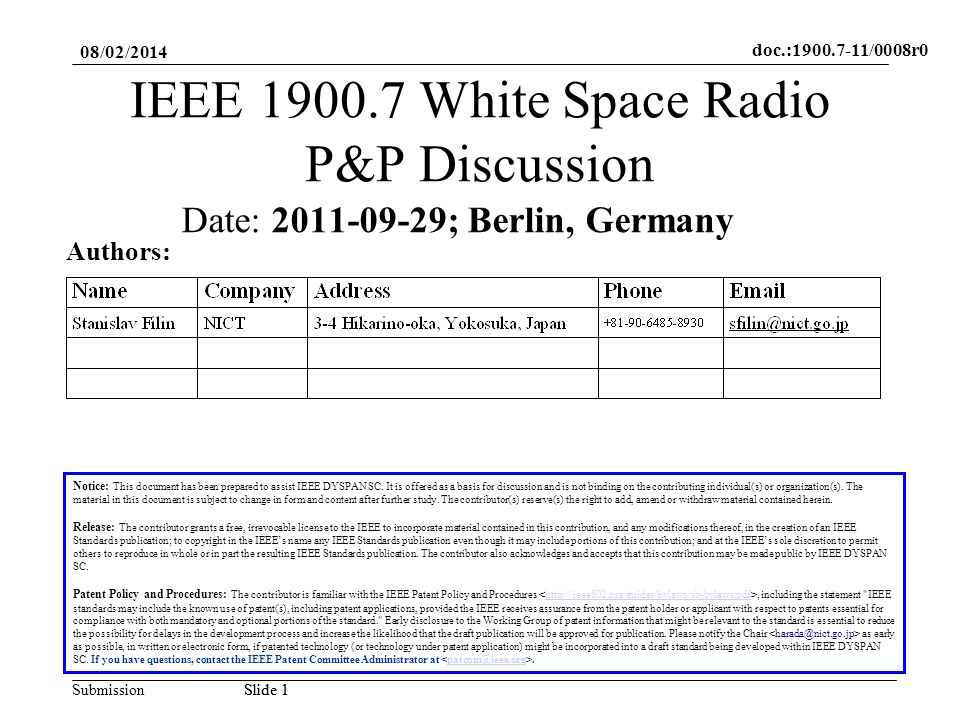 doc.:1900.7-11/0008r0 SubmissionSlide 2 Abstract This contribution is to facilitate discussion on IEEE 1900.7 WS Radio WG Policies and Procedures 08/02/2014