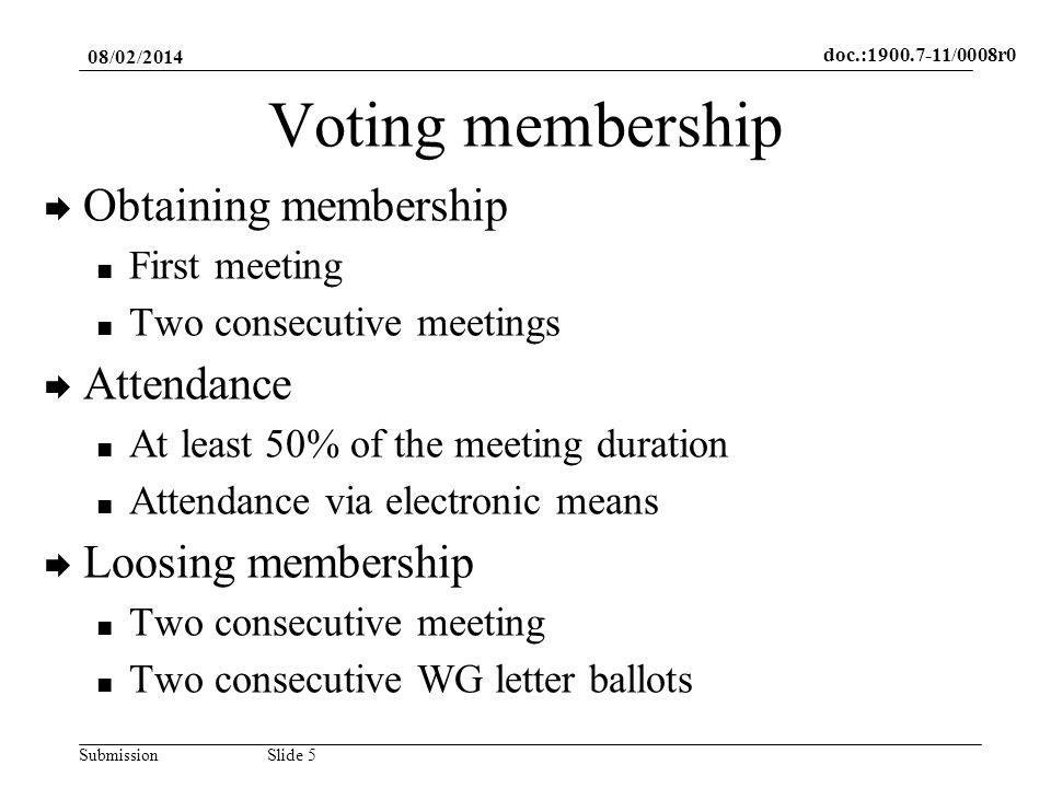 doc.:1900.7-11/0008r0 SubmissionSlide 5 Voting membership Obtaining membership First meeting Two consecutive meetings Attendance At least 50% of the meeting duration Attendance via electronic means Loosing membership Two consecutive meeting Two consecutive WG letter ballots 08/02/2014