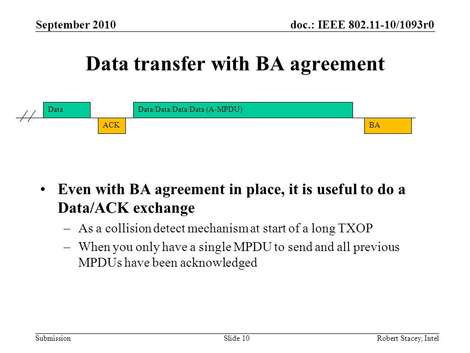 doc.: IEEE 802.11-10/1093r0 Submission Even with BA agreement in place, it is useful to do a Data/ACK exchange –As a collision detect mechanism at sta