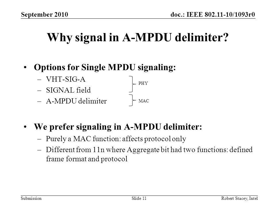 doc.: IEEE 802.11-10/1093r0 Submission Options for Single MPDU signaling: –VHT-SIG-A –SIGNAL field –A-MPDU delimiter We prefer signaling in A-MPDU del