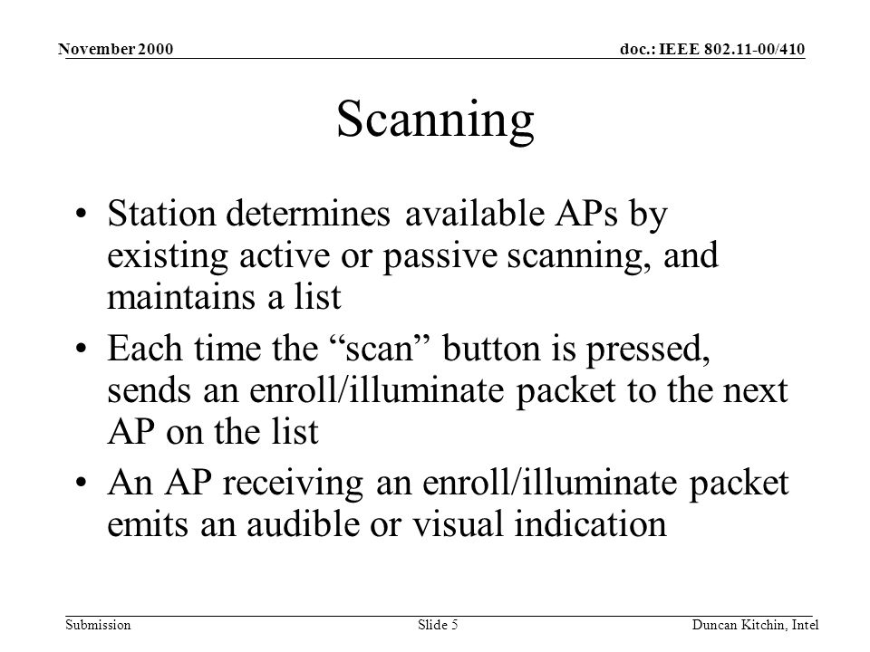 doc.: IEEE 802.11-00/410 Submission November 2000 Duncan Kitchin, IntelSlide 5 Scanning Station determines available APs by existing active or passive scanning, and maintains a list Each time the scan button is pressed, sends an enroll/illuminate packet to the next AP on the list An AP receiving an enroll/illuminate packet emits an audible or visual indication