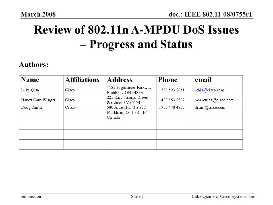 doc.: IEEE 802.11-08/0755r1 Submission March 2008 Luke Qian etc, Cisco Systems, IncSlide 1 Review of 802.11n A-MPDU DoS Issues – Progress and Status Authors: