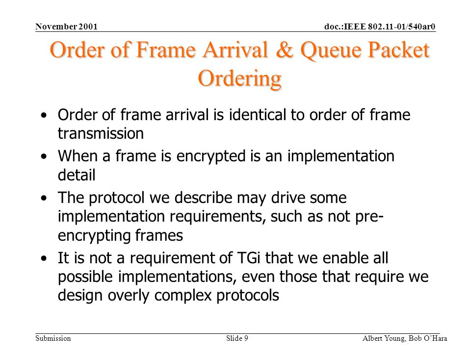 doc.:IEEE 802.11-01/540ar0 Submission November 2001 Albert Young, Bob OHara Slide 9 Order of Frame Arrival & Queue Packet Ordering Order of frame arrival is identical to order of frame transmission When a frame is encrypted is an implementation detail The protocol we describe may drive some implementation requirements, such as not pre- encrypting frames It is not a requirement of TGi that we enable all possible implementations, even those that require we design overly complex protocols
