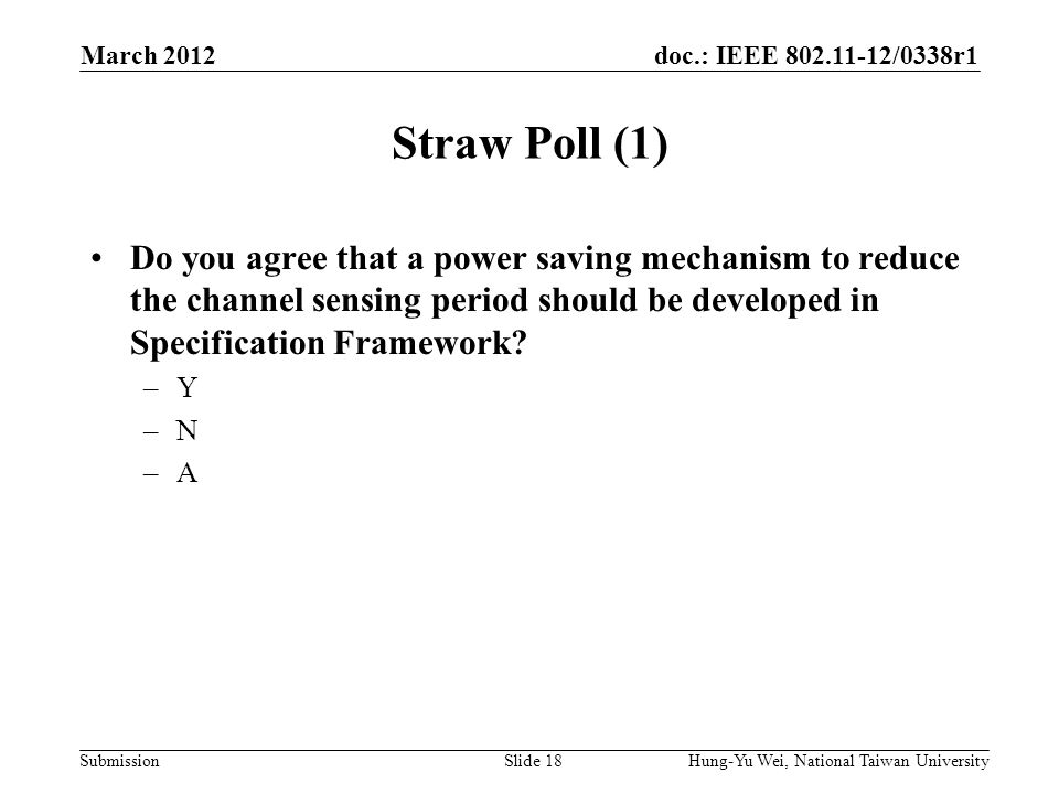 doc.: IEEE 802.11-12/0338r1 Submission Straw Poll (1) Do you agree that a power saving mechanism to reduce the channel sensing period should be developed in Specification Framework.