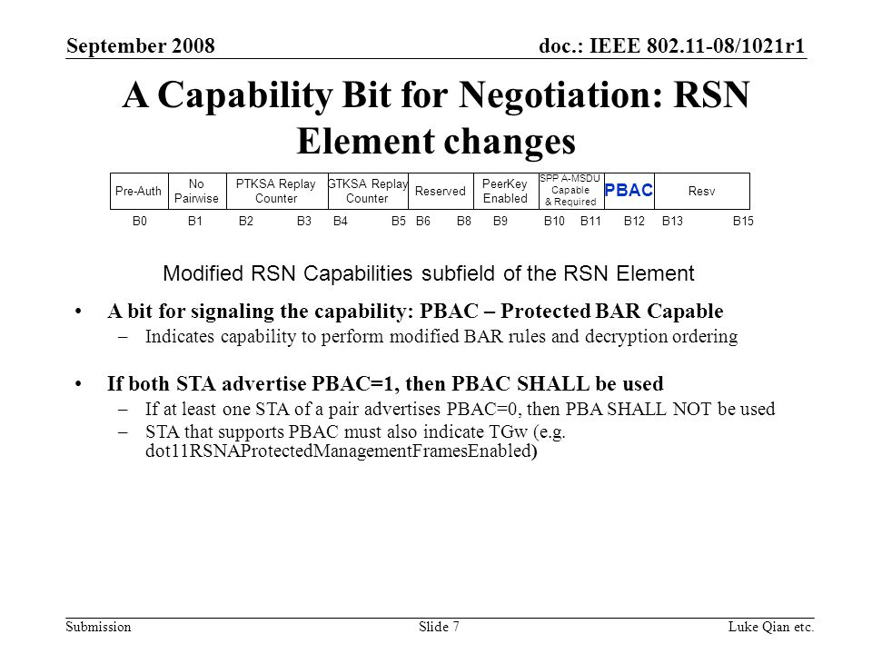 doc.: IEEE 802.11-08/1021r1 Submission September 2008 Luke Qian etc.Slide 7 A Capability Bit for Negotiation: RSN Element changes A bit for signaling the capability: PBAC – Protected BAR Capable –Indicates capability to perform modified BAR rules and decryption ordering If both STA advertise PBAC=1, then PBAC SHALL be used –If at least one STA of a pair advertises PBAC=0, then PBA SHALL NOT be used –STA that supports PBAC must also indicate TGw (e.g.