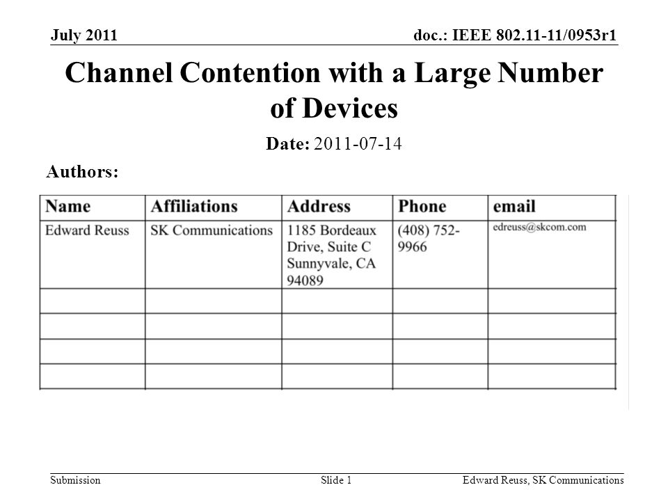 doc.: IEEE 802.11-11/0953r1 Submission July 2011 Edward Reuss, SK CommunicationsSlide 1 Channel Contention with a Large Number of Devices Date: 2011-07-14 Authors: