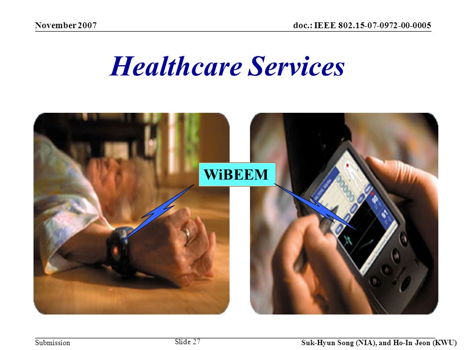 doc.: IEEE 802.15-07-0972-00-0005 Submission November 2007 Suk-Hyun Song (NIA), and Ho-In Jeon (KWU) Slide 27 Healthcare Services WiBEEM