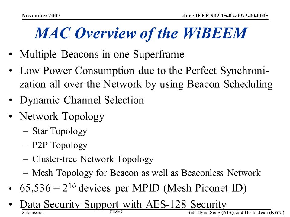 doc.: IEEE 802.15-07-0972-00-0005 Submission November 2007 Suk-Hyun Song (NIA), and Ho-In Jeon (KWU) Slide 29 Acknowledgment This work has been supported partially by NIA(National Information Society Agency).