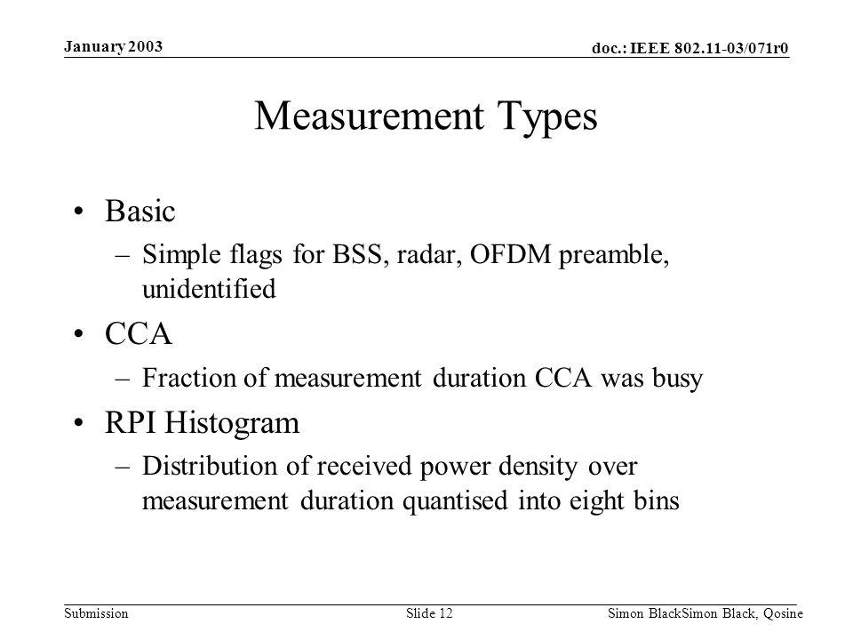 doc.: IEEE 802.11-03/071r0 Submission January 2003 Simon BlackSimon Black, QosineSlide 12 Measurement Types Basic –Simple flags for BSS, radar, OFDM p
