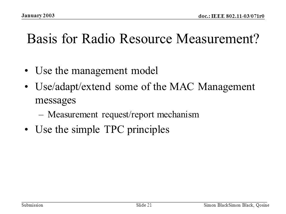 doc.: IEEE 802.11-03/071r0 Submission January 2003 Simon BlackSimon Black, QosineSlide 21 Basis for Radio Resource Measurement? Use the management mod