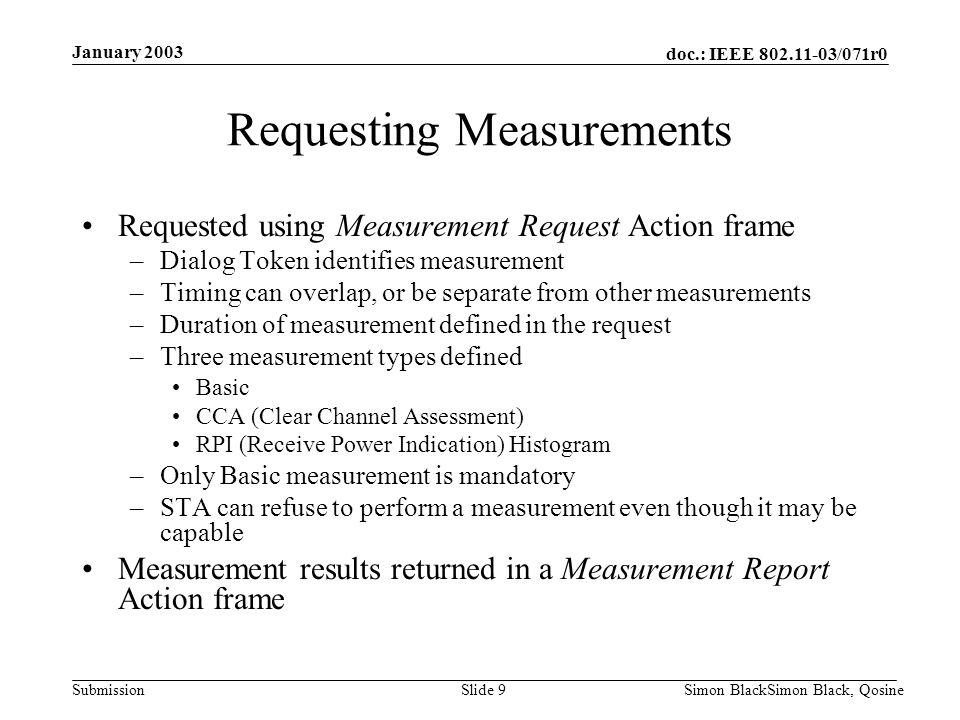 doc.: IEEE 802.11-03/071r0 Submission January 2003 Simon BlackSimon Black, QosineSlide 9 Requesting Measurements Requested using Measurement Request A