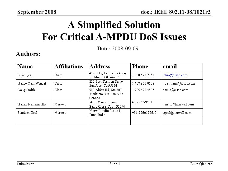 doc.: IEEE 802.11-08/1021r3 Submission September 2008 Luke Qian etc.Slide 1 A Simplified Solution For Critical A-MPDU DoS Issues Date: 2008-09-09 Auth
