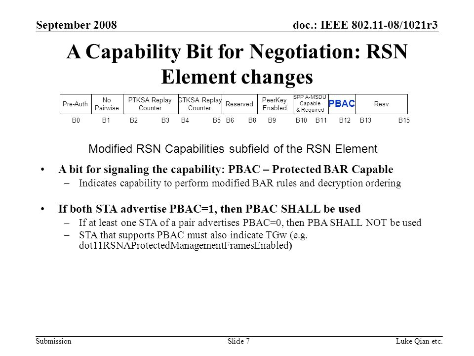 doc.: IEEE 802.11-08/1021r3 Submission September 2008 Luke Qian etc.Slide 7 A Capability Bit for Negotiation: RSN Element changes A bit for signaling the capability: PBAC – Protected BAR Capable –Indicates capability to perform modified BAR rules and decryption ordering If both STA advertise PBAC=1, then PBAC SHALL be used –If at least one STA of a pair advertises PBAC=0, then PBA SHALL NOT be used –STA that supports PBAC must also indicate TGw (e.g.