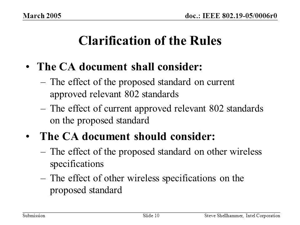 doc.: IEEE 802.19-05/0006r0 Submission March 2005 Steve Shellhammer, Intel CorporationSlide 10 Clarification of the Rules The CA document shall consider: –The effect of the proposed standard on current approved relevant 802 standards –The effect of current approved relevant 802 standards on the proposed standard The CA document should consider: –The effect of the proposed standard on other wireless specifications –The effect of other wireless specifications on the proposed standard