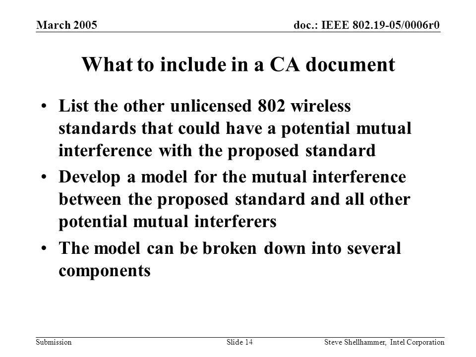 doc.: IEEE 802.19-05/0006r0 Submission March 2005 Steve Shellhammer, Intel CorporationSlide 14 What to include in a CA document List the other unlicensed 802 wireless standards that could have a potential mutual interference with the proposed standard Develop a model for the mutual interference between the proposed standard and all other potential mutual interferers The model can be broken down into several components