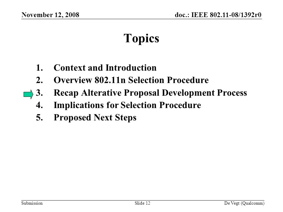 doc.: IEEE /1392r0 Submission November 12, 2008 De Vegt (Qualcomm)Slide 12 Topics 1.Context and Introduction 2.Overview n Selection Procedure 3.Recap Alterative Proposal Development Process 4.Implications for Selection Procedure 5.Proposed Next Steps