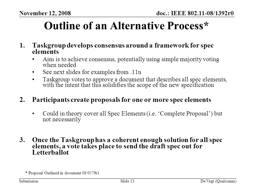 doc.: IEEE /1392r0 Submission November 12, 2008 De Vegt (Qualcomm)Slide 13 Outline of an Alternative Process* 1.Taskgroup develops consensus around a framework for spec elements Aim is to achieve consensus, potentially using simple majority voting when needed See next slides for examples from.11n Taskgroup votes to approve a document that describes all spec elements, with the intent that this solidifies the scope of the new specification 2.Participants create proposals for one or more spec elements Could in theory cover all Spec Elements (i.e.