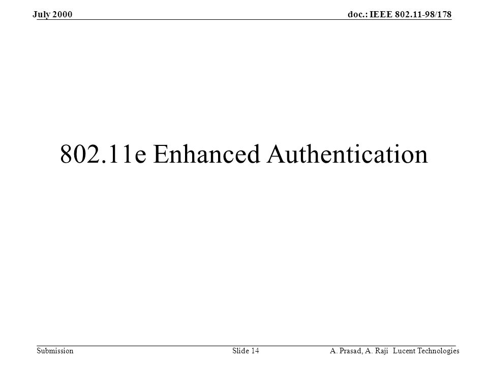 doc.: IEEE 802.11-98/178 Submission July 2000 A. Prasad, A.