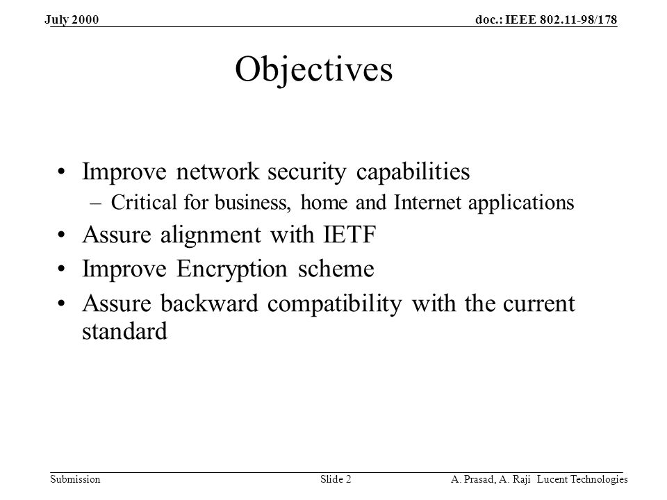 doc.: IEEE 802.11-98/178 Submission July 2000 A.Prasad, A.