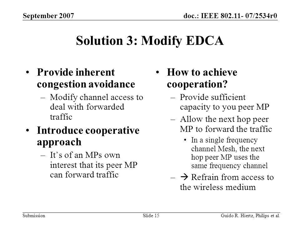 doc.: IEEE 802.11- 07/2534r0 Submission Solution 3: Modify EDCA Provide inherent congestion avoidance –Modify channel access to deal with forwarded traffic Introduce cooperative approach –Its of an MPs own interest that its peer MP can forward traffic How to achieve cooperation.